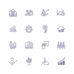 Growth line icon set. Analysis, investment portfolio, presentation. Business concept. Can be used for topics like career promotion, income, investment, success