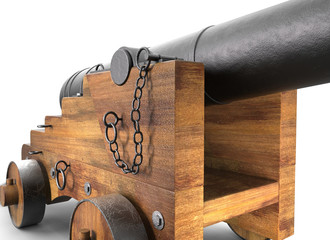 Cannon old set on background. 3D rendering.
