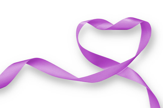 Purple lavender heart ribbon element isolated on white background (clipping path), raising awareness on national cancer control month