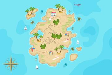 Photo sur Plexiglas Turquoise Pirate fantasy cartoon island map. Vector Treasure island.