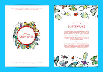 Vector hand drawn insects card or flyer template of set illustration