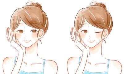 美容 スキンケア 女性 イラスト