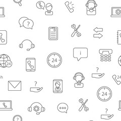 Vector line call support center icons pattern or background illustration. Phone service linear