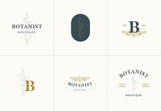 Logo Set with Floral Illustrations