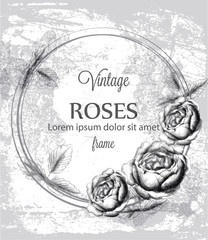 Roses vintage card line art Vector. Vintage ink styles stains effects
