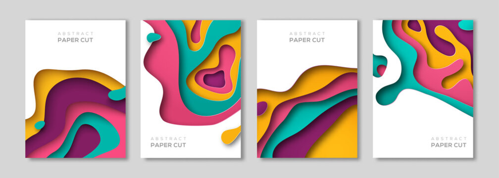 Vertical banners set with paper cut