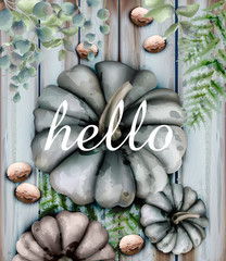 Autumn card with pumpkins Vector watercolor style decor soft colors