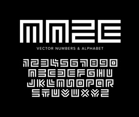 Geometric vector letters and numbers set. Maze alphabet. White logo template on black background. Typography design.
