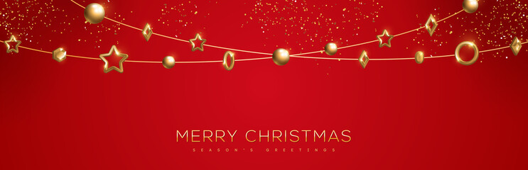 Christmas red banner with baubles