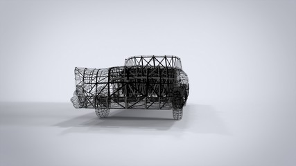 Wireframe Style Classic retro cars 3D rendering results from the blender application