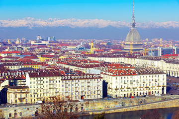 View of Turin with Mole Antonelliana, Italy