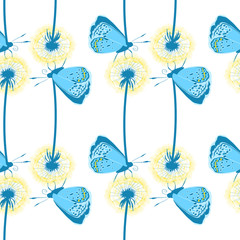 Colorful seamless pattern with a blue butterfly sitting on dandelion flower