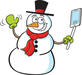 Cartoon illustration of a smiling snowman holding a cell phone.