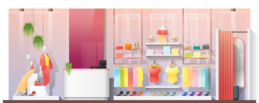 Interior scene of modern women clothing store , vector , illustration