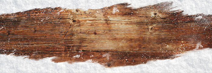 Weihnachten Banner Holz Hintergrund mit Schnee