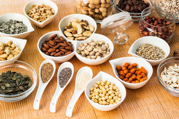 A collection of different dry fruits. Legume family