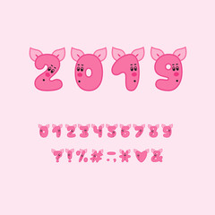 Alphabet piggy design. Numbers and punctuation marks. Bold font clip art, cartoon style. Vector illustration. EPS 10