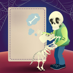 Halloween greeting card template. Human and dog skeletons and copy space for text on blue background. Design can be used for flyers, banners, invitation cards