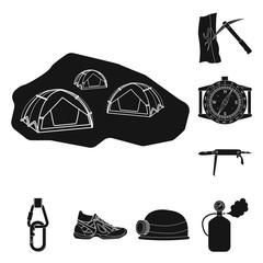 Vector design of mountaineering and peak symbol. Collection of mountaineering and camp stock vector illustration.