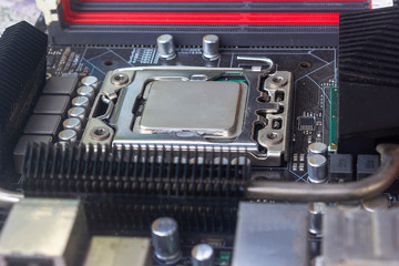 Close up cpu socket on motherboard Computer PC with cpu processor