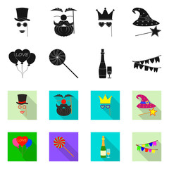 Isolated object of party and birthday symbol. Collection of party and celebration stock symbol for web.