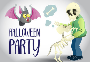 Halloween party poster design. Cute cartoon bat and human and dog skeletons on white background. Template can be used for flyers, banners, invitation cards