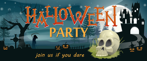 Halloween party, join us if you dare banner design. Skull, pumpkin lanterns, gothic castle, graves, Grim Reaper night silhouettes. Template can be used for flyers, posters, invitation cards