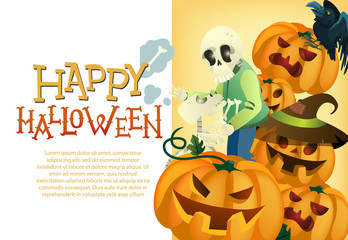 Happy Halloween card template. Human and dog skeletons, black raven and pumpkin lanterns on yellow background. Festive design can be used for flyers, banners, posters