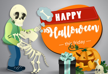Happy Halloween festive poster design. Pumpkin, human and dog skeletons, skull and gift on grey background. Template can be used for flyers, banners, invitation cards