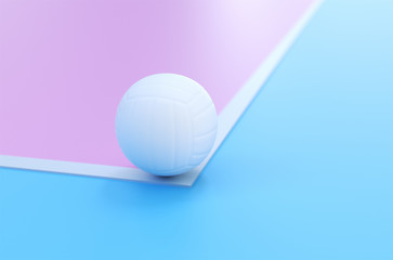 The volleyball line up on a pink and blue 3d rendering court.The concept of healthy living and exercise.