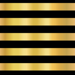 Gold foil stripe seamless vector background. Horizontal gold lines on black pattern. Elegant, simple, luxurious design for wallpaper, scrap booking, banners, New Year, invitation, birthday celebration