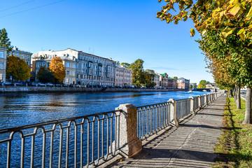 Autumn city Fontanka river embankment in Saint Petersburg, Russia