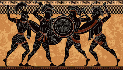 Ancient greek scene banner.Hero,spartan,myth.Ancient civilization culture.