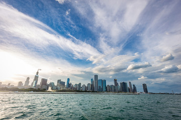 Chicago city view from Michigan Lake in beautiful a sunny day.