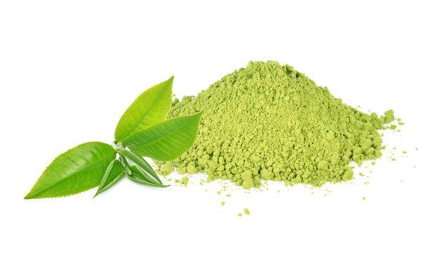 Green tea leaf and matcha powder  isolated on white background.