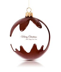 Christmas toy made of melted chocolate. Chocolate Christmas toy. New Year's decoration. Holiday concept.