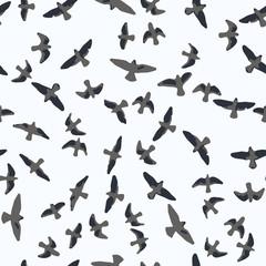 Flying birds seamless pattern. Primitive style.