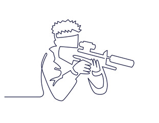 Continuous One Line Drawing of Paintball Player or Sketch vector illustration the silhouette of a soldier in profile with a gun ready for battle.
