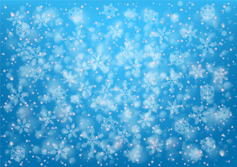 Merry Christmas decoration pattern - snow illustration on blue background -