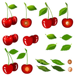 Cherrys isolated on white with clipping path.