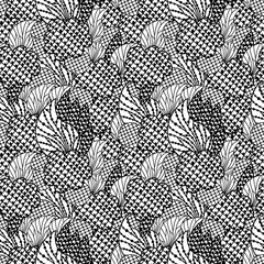 Doodle abstract seamless pattern. Hand drawn background. Vector illustration.