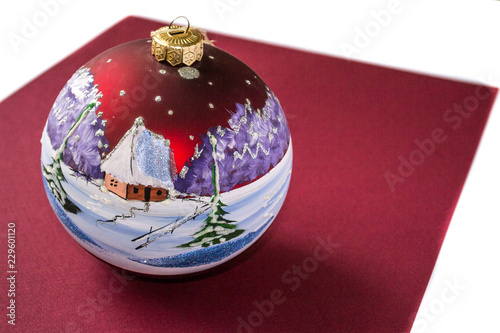 Colorful Christmas Ornaments Drawings.Christmas Tree Toy Ball In Bordo Cherry Color Isolated On