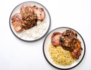 keto chops with cheddar cauliflower rice