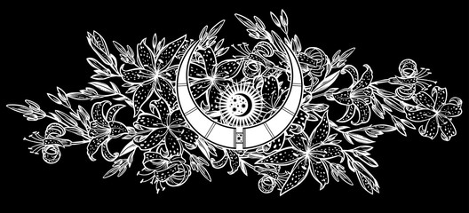 Wild sharp summer lilium flowers, field bouquet sketch in line art style with magic moon inside.