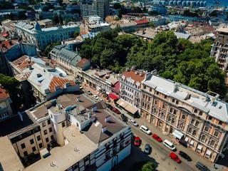 bird's eye view of the summer city.