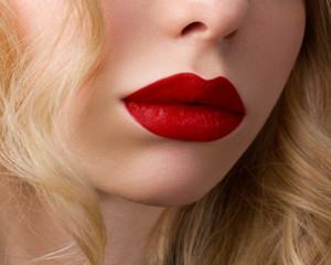 Red Sexy Lips. Open Mouth. Manicure and Makeup. Make up concept.