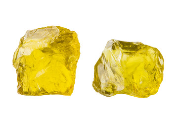 Semi-precious stones and minerals on a white background