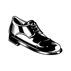 Vintage monochrome men leather shoe concept