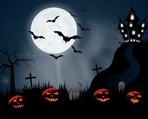 Halloween night poster or background with smiling pumpkins, haunted house on hill. Vector illustration.