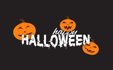 Halloween text lettering with smiling pumpkins. Vector illustration.